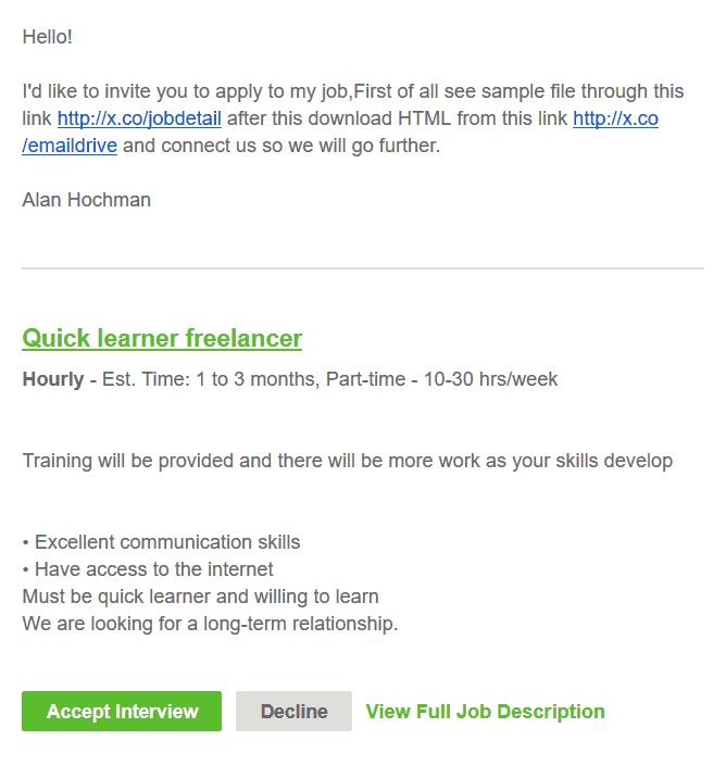 Fake deals on upwork, mail screenshot